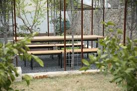 sinker cypress outdoor table and benches
