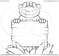 Cartoon Clipart Of A Black And White Chimpanzee Behind A Wooden ...