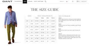 Gant Size Guide Tops Body Measurements Shoulder Fashion