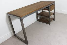 industrial style office desk. Spacious Industrial Computer Desk In Vintage Desks Bespoke Style Office UK Russell Oak Steel