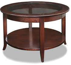 Leick Solid Wood Round Glass Top Coffee Table, Chocolate Oak Transitional  Coffee Tables