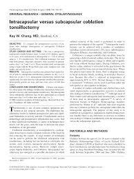 Pdf Intracapsular Versus Subcapsular Coblation Tonsillectomy