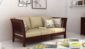 raiden 3 seater wooden sofa gany finish 1