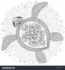 Small Picture Coloring Pages Hand Drawn Sea Turtle Mascot For Adult Coloring
