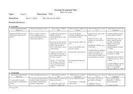 personal development plans sample personal development action plan template service contract