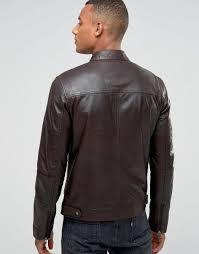 barneys vintage men s leather biker jacket with tab neck collar