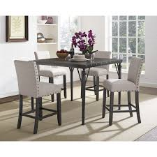 biony 5 piece espresso wood counter height dining set with fabric nail head chairs today overstock 16685542