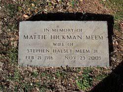 Mattie Hickman Meem (1916-2005) - Find A Grave Memorial