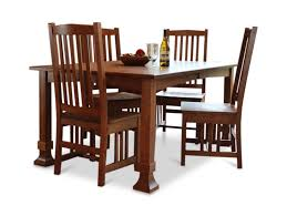 Amish Mission Quartersawn White Oak Table And  Side Chairs HOM - Amish oak dining room furniture