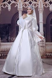 modest high collar ball gown full length long sleeves muslim