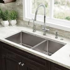 zuhne 32 inch undermount 60 40 deep double bowl 16 gauge stainless steel modern kitchen sink com