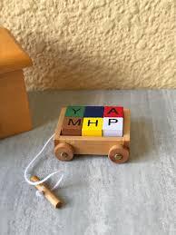 details about miniature dollhouse fairy garden accessories wood wagon w toy blocks new