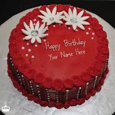 Red Elegant Birthday Cake With Name