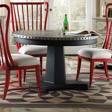 sanctuary wood copper 48 round dining table in antique coffee aluminum