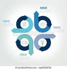 Four Steps Circle Arrow Infographic Scheme Template Chart Diagram Module