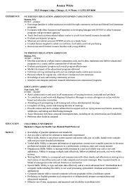 Education Assistant Resume Samples Velvet Jobs