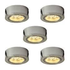 cabinet lighting. Illume Kit Of 5x 120V Plastic LED Pucks, Satin Nickel Cabinet Lighting