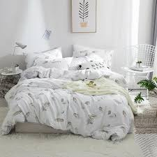 papa mima modern style bedding set feather print 100 cotton queen twin size duvet cover flat sheet pillowcases designer duvet cover sets bedspread sets on
