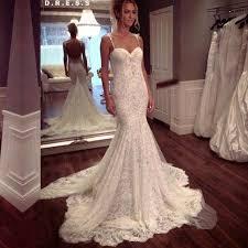 elegant spaghetti straps lace sweep train mermaid wedding dress