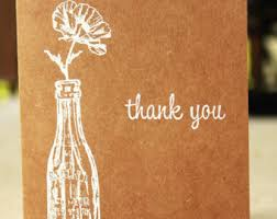 thank you cards etsy Wedding Thank You Cards No Pictures rustic thank you card, kraft thank you card, wedding thank you, shabby chic wedding thank you cards photo