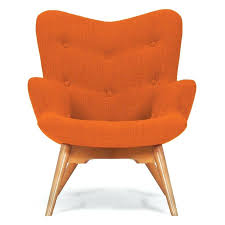 orange upholstered chairs tub chair faux leather dining