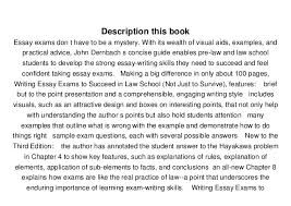 writing essay exams to succeed in law school not just to su   9780735591882 3 description this book essay exams