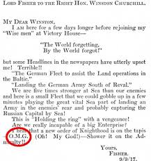 a copy of the letter lord fisher sent to winston churchill in 1917 where he used cover letter phrases to use