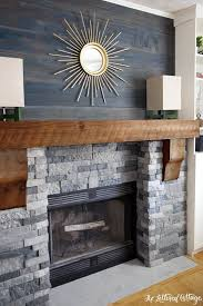 Airstone Faux Stone Fireplace Makeover - Spring Creek colored stones (looks  like real stone but weighs less), above mantel old barnwood planks are  stained ...