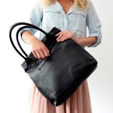 black leather tote bag handmade by vank design