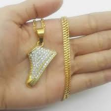 image is loading uk gold iced out shoe trainer pendant hip