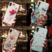 3D <b>Emboss</b> Relief Flowers lily Birds Chinese Print Case Womens ...