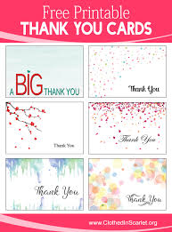 Free Printable Thank You Postcards Free Printable Thank You Cards Clothed In Scarlet