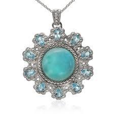 sterling silver 15mm larimar swiss blue topaz flower pendant property room