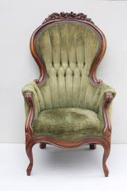 vintage chair with tufted sage green chenille upholstery and cherry armchair frames for wood frame description from adorefolklore searched this remote