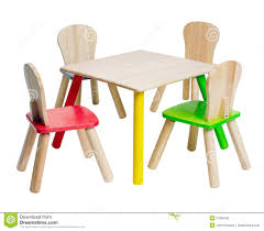 wooden table and chairs toys for kid stock photo  image