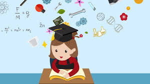cartoon animation of a student is reading education book on her desk in cl with