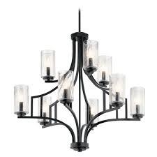 kichler lighting seeded glass chandelier black vara by kichler lighting 44073dbk hover or to zoom