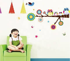 cartoon wall sticker nursery wall art for kids colorful owl family baby room wall
