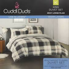 cuddl duds gray lodge plaid flannel king duvet cover set new cotton cream heavy 400708540394