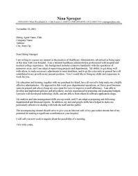 Sample Resume Cover Letter Healthcare