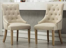 amazon roundhill furniture c169ta on tufted solid wood wingback hostess chairs with nail heads set of 2 tan chairs