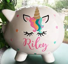 personalized piggy bank unicorn gift baby piggy bank toddler gift piggy bank new baby gift baby birthday by bubbiered on etsy