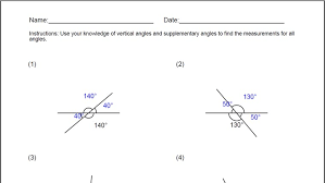 Vertical Angles Worksheet for Windows 8 and 8.1
