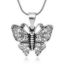 925 oxidized sterling silver big erfly filigree pendant necklace 18 inches nickel free necklaces