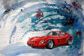 Chart Peinture Dessin Ferrari 250 Gto Canvas From Michaux Print