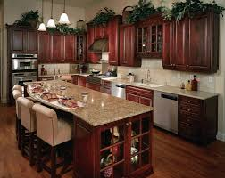Kitchen. L shape kitchen design and decoration using rustic cherry kitchen  cabinets including round tulip
