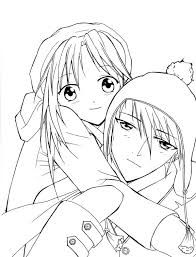Small Picture Anime Couple Coloring Pages signage Pinterest Anime couples