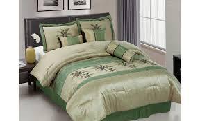image of green check bed set
