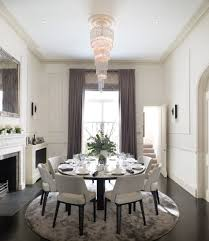 Standard Height Of Dining Room Table Shirred Round Curtain Dining Room Traditional With Ceiling Detail