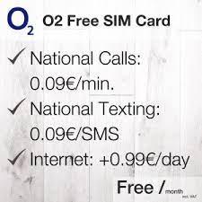 o2 free sim card my german phone